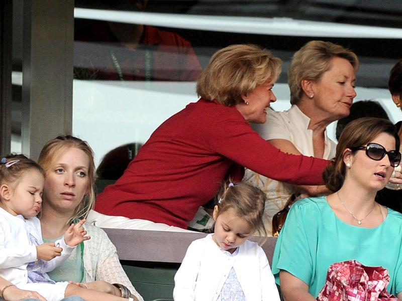Mirka Federer, Miyla Rose Federer and Charlene Riva Federer attend the match between Roger Federer and Thomaz Bellucci at the Indian Wells Tennis Garden. AFP Photo