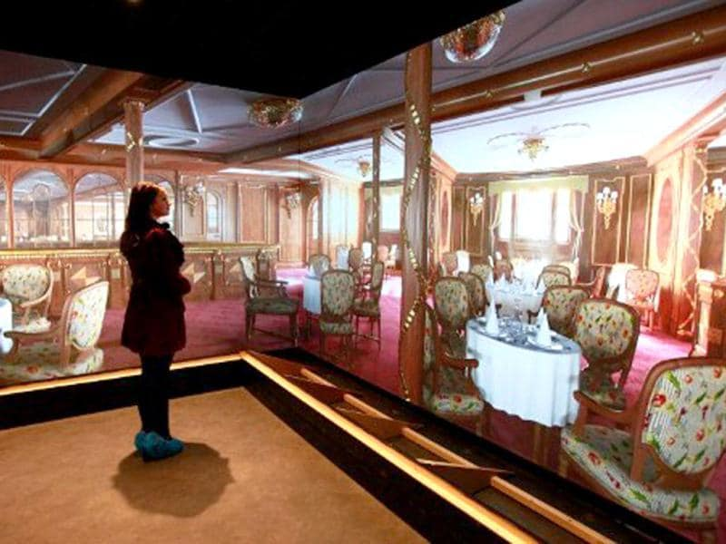 A computer generated image shows the main dining room aboard the Titanic ship at the Titanic Belfast visitor centre in Northern Ireland. The world's biggest Titanic visitor attraction is to open in its Belfast birthplace on 31 March, 100 years to the day since the doomed ocean liner was completed in the same shipyards. AFP/Peter Muhly