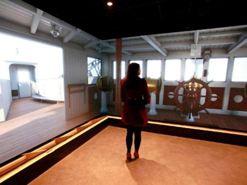 A computer generated image shows the wheelhouse of the Titanic ship at the Titanic Belfast visitor centre in Belfast, Northern Ireland. The world's biggest Titanic visitor attraction is to open in its Belfast birthplace on 31 March, 100 years to the day since the doomed ocean liner was completed in the same shipyards. AFP/Peter Muhly