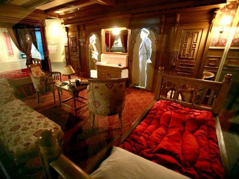 A computer generated image of the first class accomodation that was available aboard the Titanic ship is pictured at the Titanic Belfast visitor centre in Belfast, Northern Ireland. The world's biggest Titanic visitor attraction is to open in its Belfast birthplace on 31 March, 100 years to the day since the doomed ocean liner was completed in the same shipyards. AFP/Peter Muhly