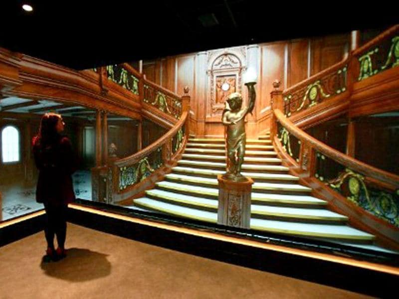 A replica of a main staircase aboard the Titanic ship is pictured at the Titanic Belfast visitor centre in Belfast, Northern Ireland. The world's biggest Titanic visitor attraction is to open in its Belfast birthplace on 31 March, 100 years to the day since the doomed ocean liner was completed in the same shipyards. AFP/Peter Muhly