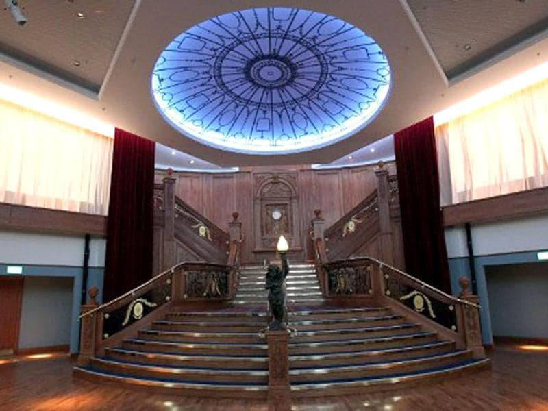 A replica of the grand staircase from the Titanic ship is pictured in Titanic Belfast visitor centre in Belfast, Northern Ireland. The world's biggest Titanic visitor attraction is to open in its Belfast birthplace on 31 March, 100 years to the day since the doomed ocean liner was completed in the same shipyards. AFP/Peter Muhly