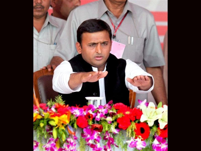 Uttar Pradesh chief minister Akhilesh Yadav after taking oath at the swearing-in ceremony in Lucknow. PTI Photo by Nand Kumar