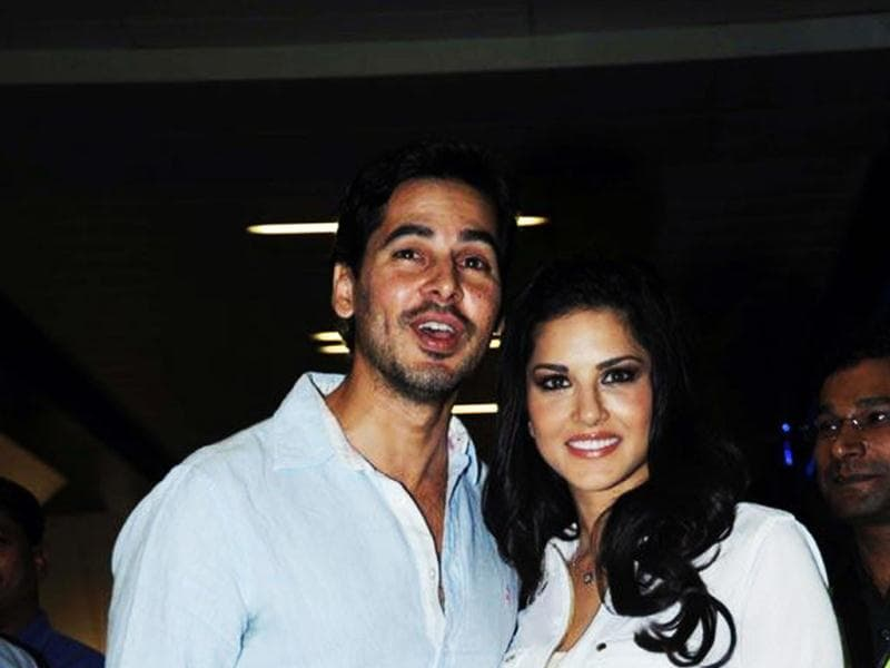 Sunny Leone landed at the Mumbai airport yesterday and was received by Jism 2 co-producer, Dino Morea.