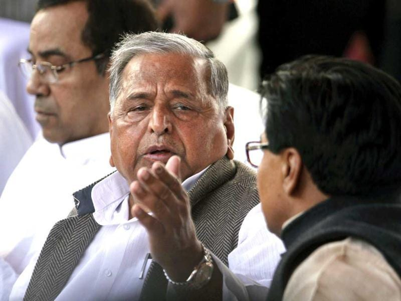 Samajwadi Party President Mulayam Singh Yadav attends the oath taking ceremony of his son Akhilesh Yadav as the chief minister of Uttar Pradesh state in Lucknow. AP Photo/Rajesh Kumar Singh