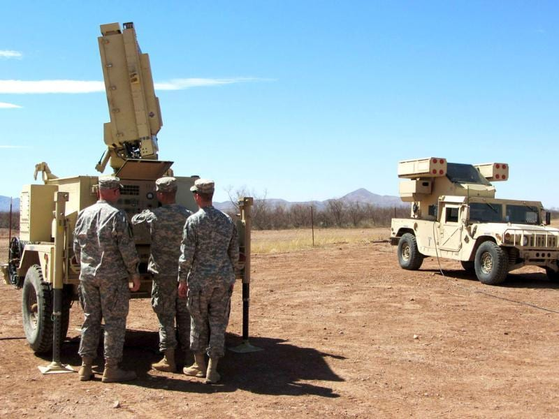 Soldiers inspect the Sentinel radar system that was recently deployed in Douglas, Arizona. Reuters/Curt Prendergast