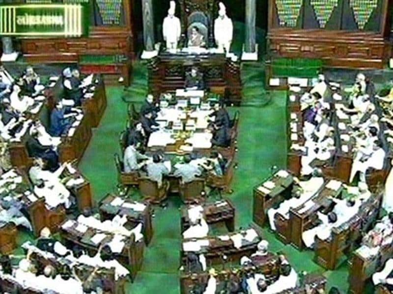TV grab shows Lok Sabha members listening to the budget speech of finance minister Pranab Mukherjee in New Delhi. Agencies