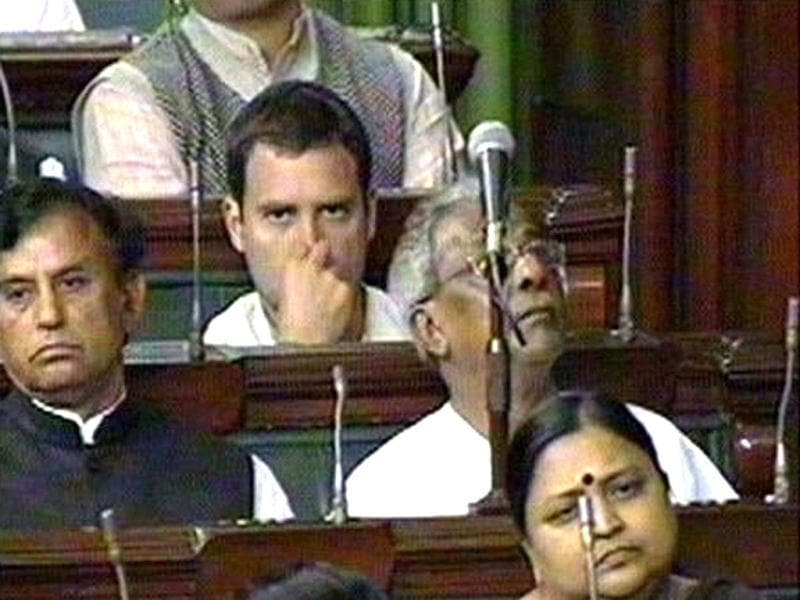 TV grab shows Congress party general secretary Rahul Gandhi listening to the Budget speech of Union finance minister Pranab Mukherjee in Lok Sabha. Agencies