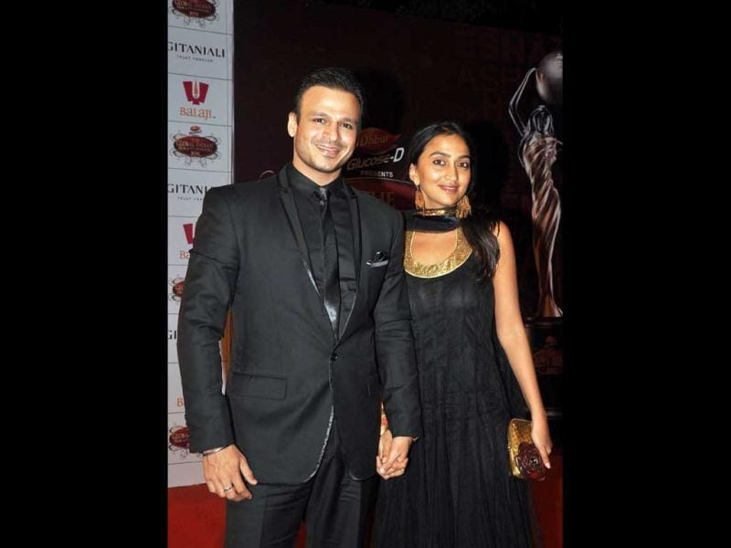 Actor Vivek Oberoi with his wife Priyanka. (AFP Photo)