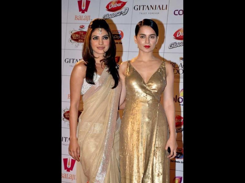 Priyanka Chopra along with her Fashion co-star Kangana at the event. (AFP Photo)