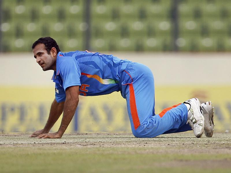 Irfan Pathan falls on the ground in an attempt to stop the ball during the Asia Cup cricket match against Pakistan in Dhaka. AP/Aijaz Rahi