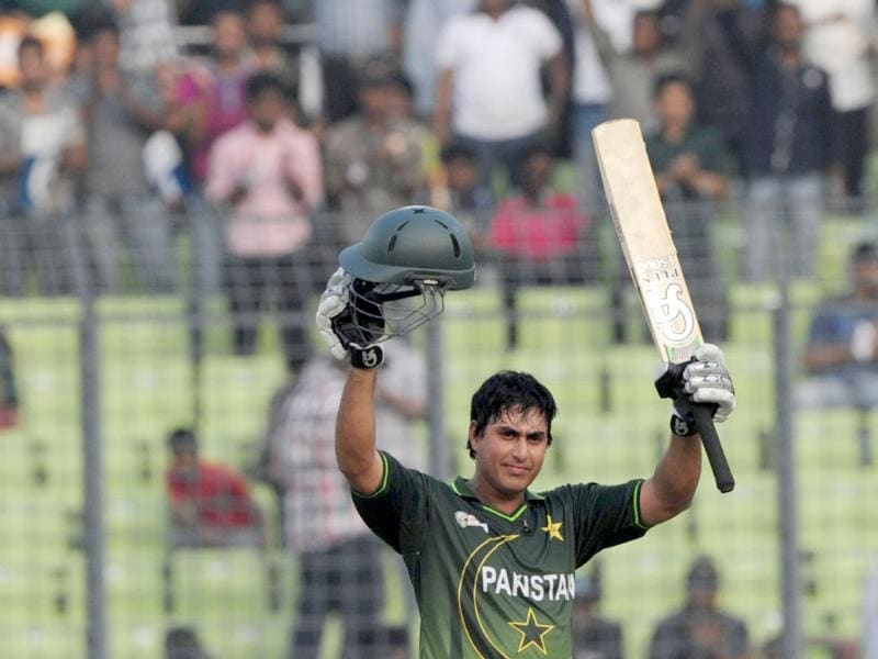 Pakistan's Nasir Jamshed gestures after scoring a century during the one day international Asia Cup cricket match against India in Dhaka. AFP/Munir uz Zaman