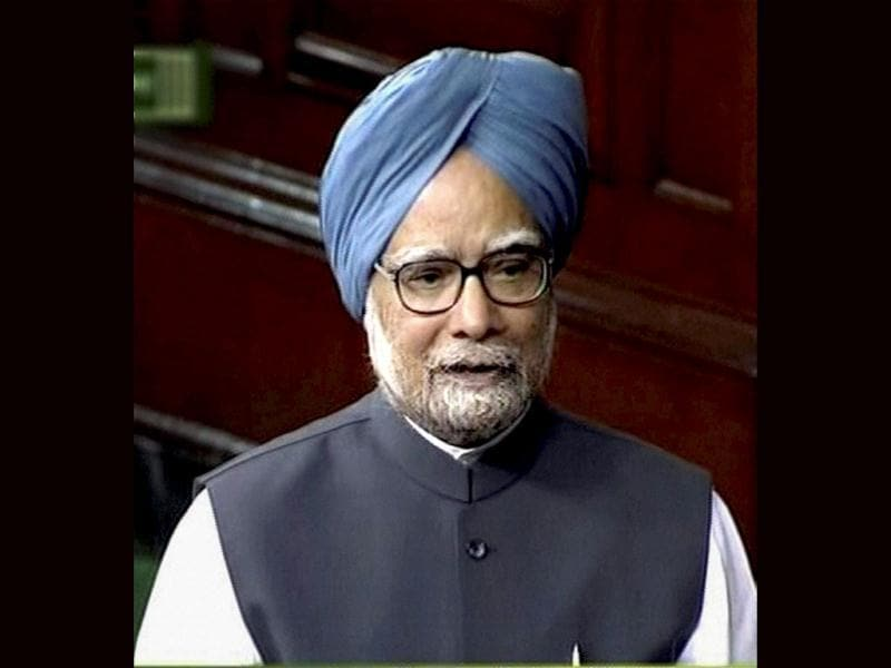 Prime Minister Manmohan Singh speaks in the Lok Sabha in New Delhi during the ongoing budget session. PTI/TV Grab
