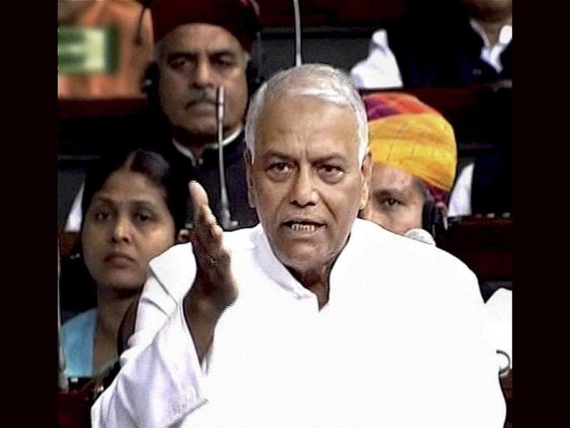 BJP member Yashwant Sinha speaks in the Lok Sabha in New Delhi during the ongoing budget session. PTI/TV Grab