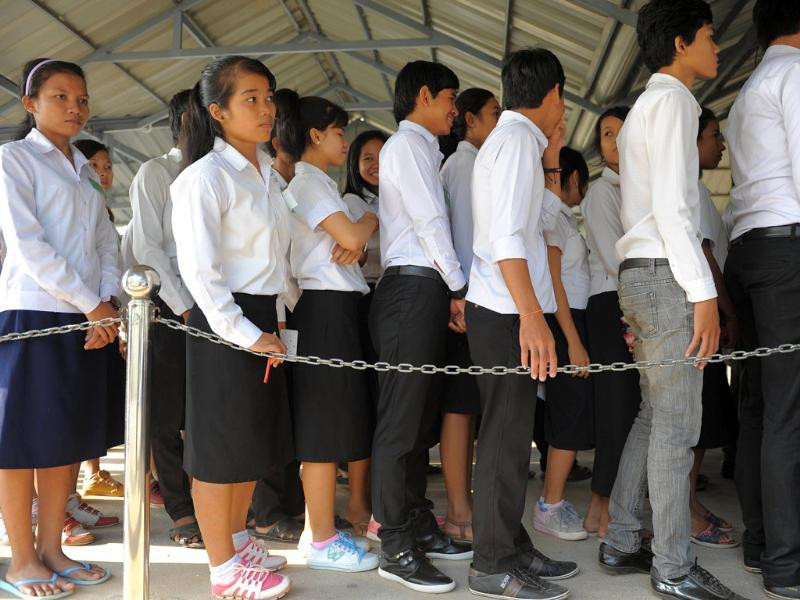 Cambodian students line up to attend a trial at the Extraordinary Chambers in the Courts of Cambodia (ECCC) in Phnom Penh. AFP/Tang Chhin Sothy