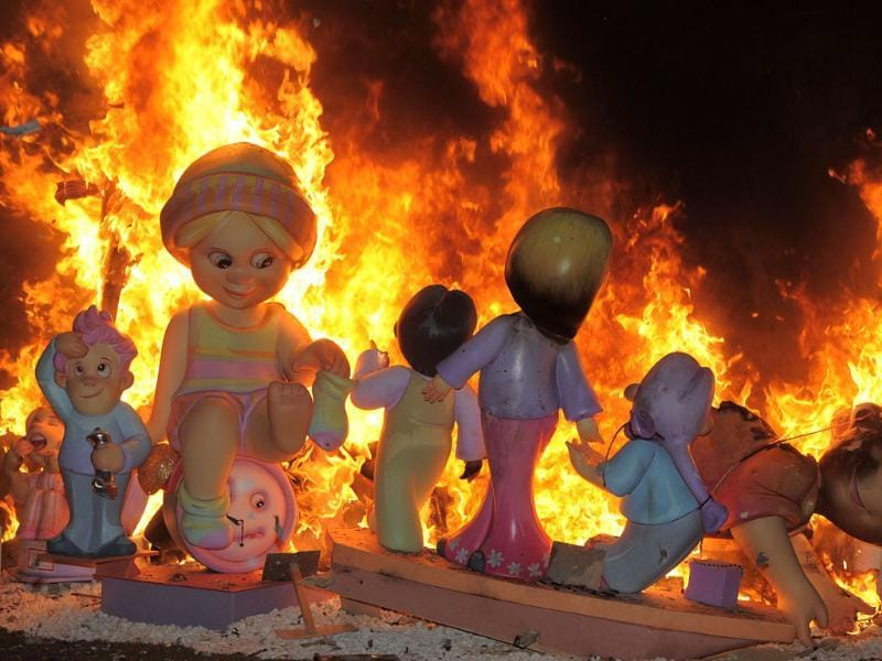 A traditional caricature, called ninot in Valencian, on the last day of the Fallas Festival in Valencia. AFP/Jose Jordan