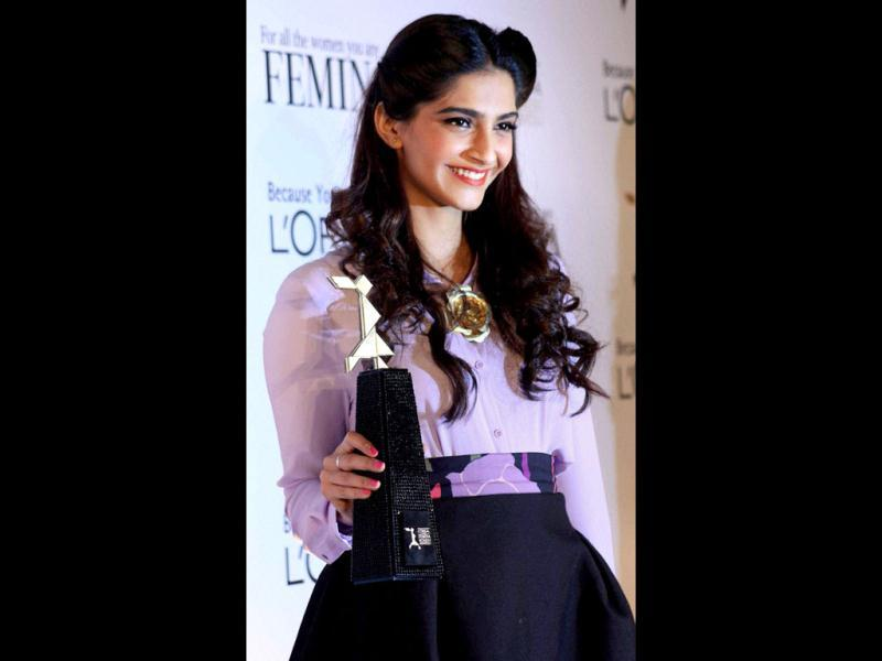 Sonam Kapoor during the launch of L'Oreal Paris Femina Women Awards trophy in Mumbai. (Photo: PTI)
