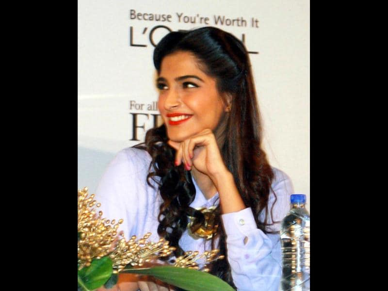Sonam Kapoor during the launch of L'Oreal Paris Femina Women Awards trophy in Mumbai. (Photo: UNI)