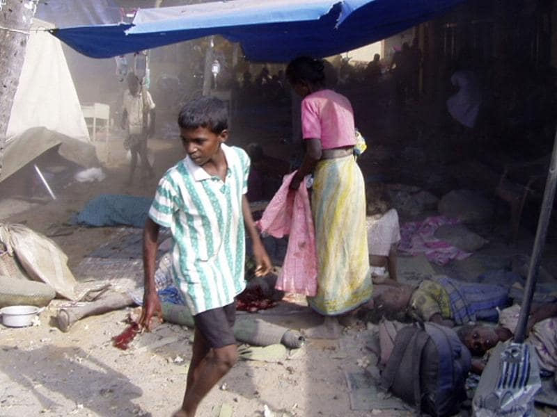 File photo: In this photograph released by the pro-LTTE website TamilNet.com, obtained by Mercy Mission, on May 2, are what they say show some of the 64 people killed and 87 wounded by shelling on May 2, 2009 at a makeshift field hospital in Mullivaikal, in the south of the last scrap of land held by the guerrillas. Reuters/www.Tamilnet.com/Handout