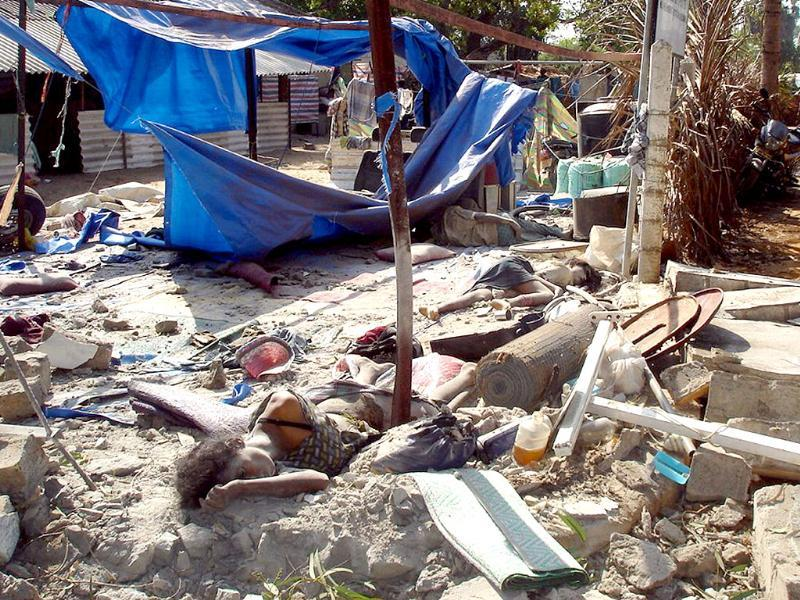 File photo: In this photograph released by the pro-LTTE website TamilNet.com, obtained from Mercy Mission, on May 2, are what they say show some of the 64 people killed and 87 wounded by shelling on May 2, 2009 at a makeshift field hospital in Mullivaikal, in the south of the last scrap of land held by the guerrillas. Reuters/www.Tamilnet.com/Handout