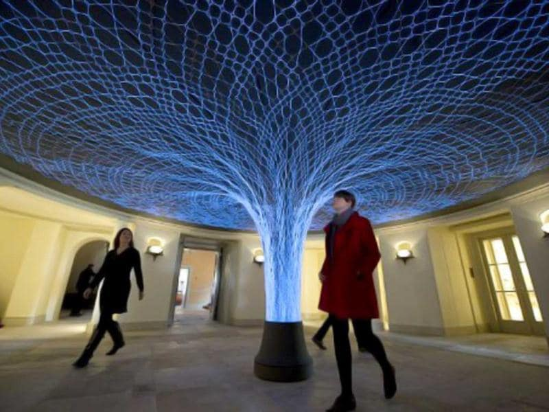 A general view of the entrance hall to Kensington Palace is pictured in central London during a photocall to showcase a $19mn restoration of the historic palace. The restoration also features an exhibition of dresses worn by Diana, Princess of Wales, and Queen Victoria's wedding dress. (AFP Photo)