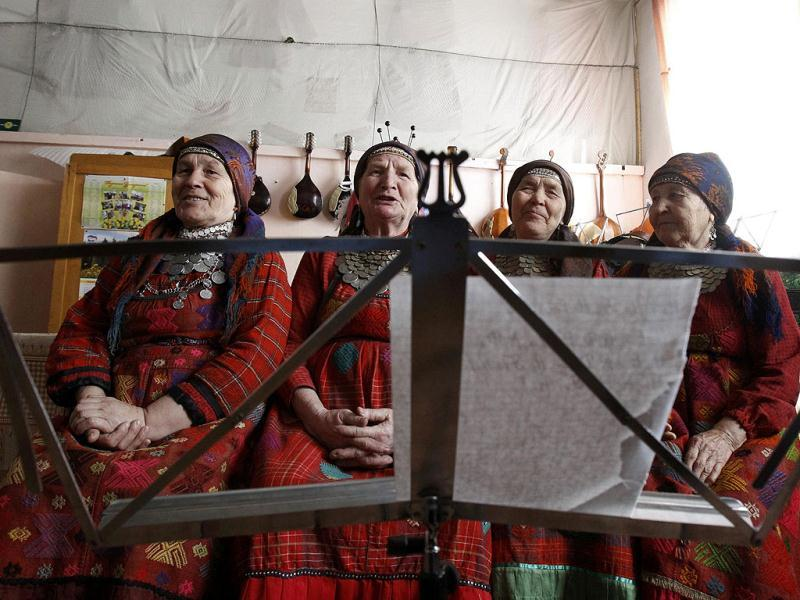 Granya Baisarova, 62, Zoya Dorodova, 72, Galina Konyeva, 74, and Valentina Pyatchenko, 74, members of the singing group