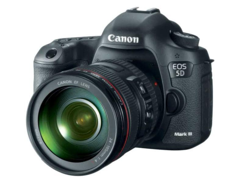 Canon DSLR- the EOS 5D Mark III is based around a 22MP full-frame sensor, it can shoot 6 frames per second and features a 61-point AF system much like the EOS-1D X. It can capture 1080p movies at 24, 25 or 30 fps and offers high quality intraframe (All-I) video compression amongst a host of movie-related improvements.