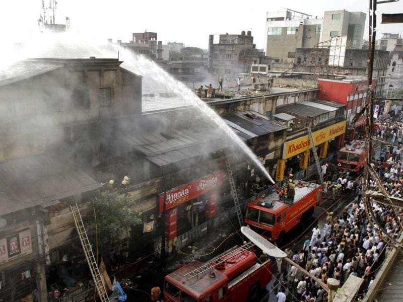 A massive fire broke out at Kolkata's Hatibagan market at around 2:30am this morning. No casualties have been reported, but the cause of the fire is yet to be ascertained. (AP Photo)