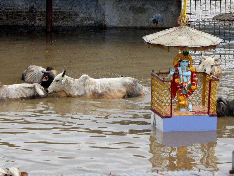 Water levels rise as the Yamuna river floods due to incessant rains in the capital and surrounding areas. HT Photo/Vipin Kumar.