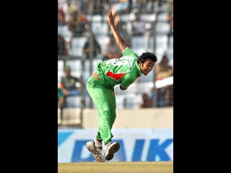 Bangladesh's Shahadat Hossain delivers a ball during their Asia Cup cricket match against Pakistan in Dhaka. AP/Pavel Rahman