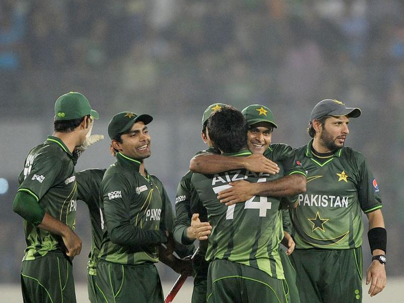 Pakistan cricketers celebrate after winning the one day international Asia Cup cricket final match against Bangladesh at the Sher-e-Bangla National Cricket Stadium in Dhaka. AFP/Munir uz Zaman