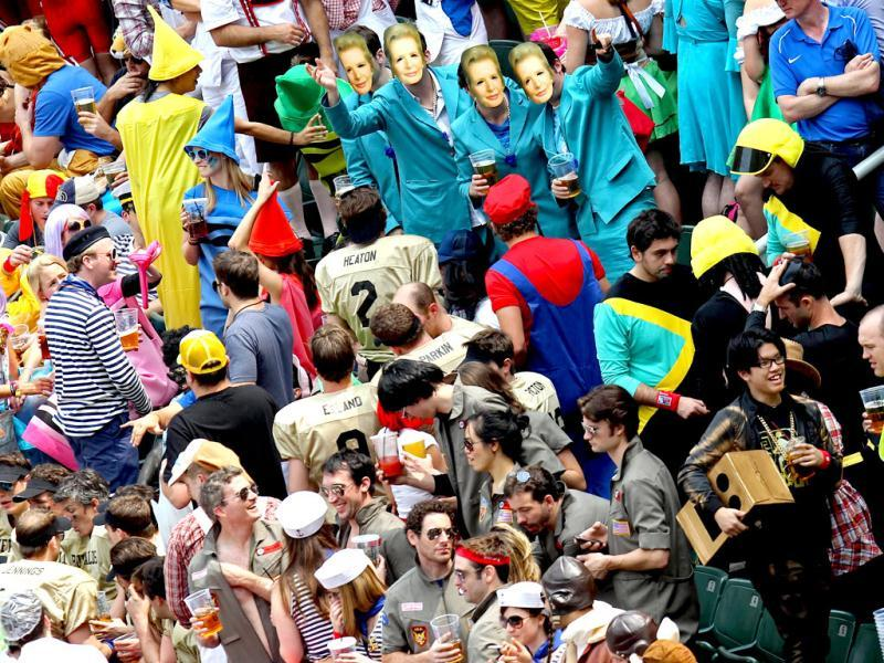 Fans attend the Hong Kong Rugby Sevens tournament on March 24, 2012. The annual tournament is being held from March 23 to 25. (AFP Photo)