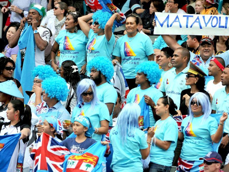 Fijian fans watch their team play France during the Hong Kong Rugby Sevens tournament.