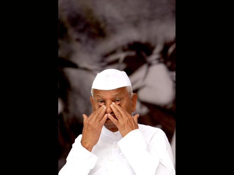 Anti-corruption activist Anna Hazare during his day-long fast against corruption at Jantar Mantar in New Delhi. PTI Photo by Atul Yadav