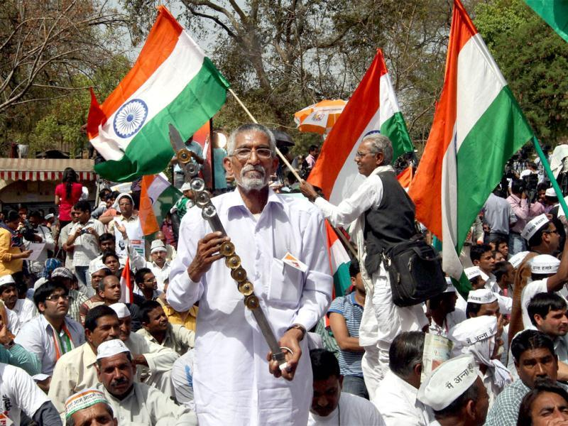 Supporters of Anna Hazare during his day-long fast against corruption at Jantar Mantar in New Delhi. PTI Photo/Kamal Singh