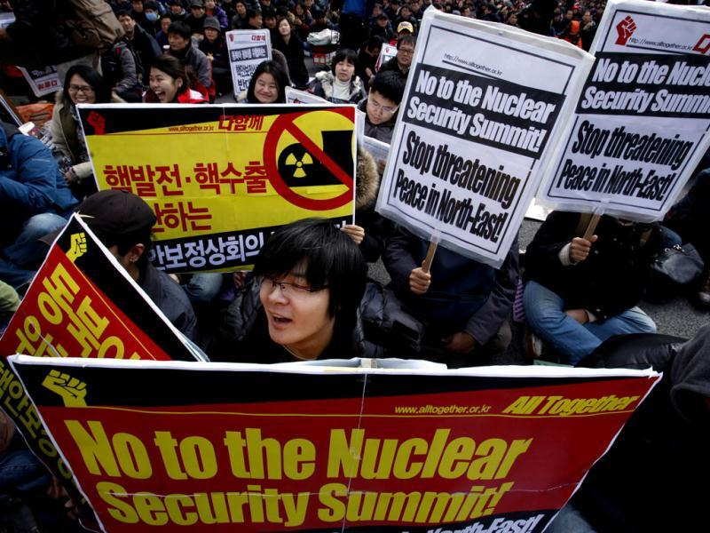 Protesters hold pickets during a rally opposing the Nuclear Security Summit in Seoul. Leaders from more than 50 countries, including US President Barack Obama, will gather in Seoul, for a March 26-27 nuclear security summit focusing on measures to protect nuclear materials and facilities and to prevent illicit trafficking. REUTERS/Bobby Yip
