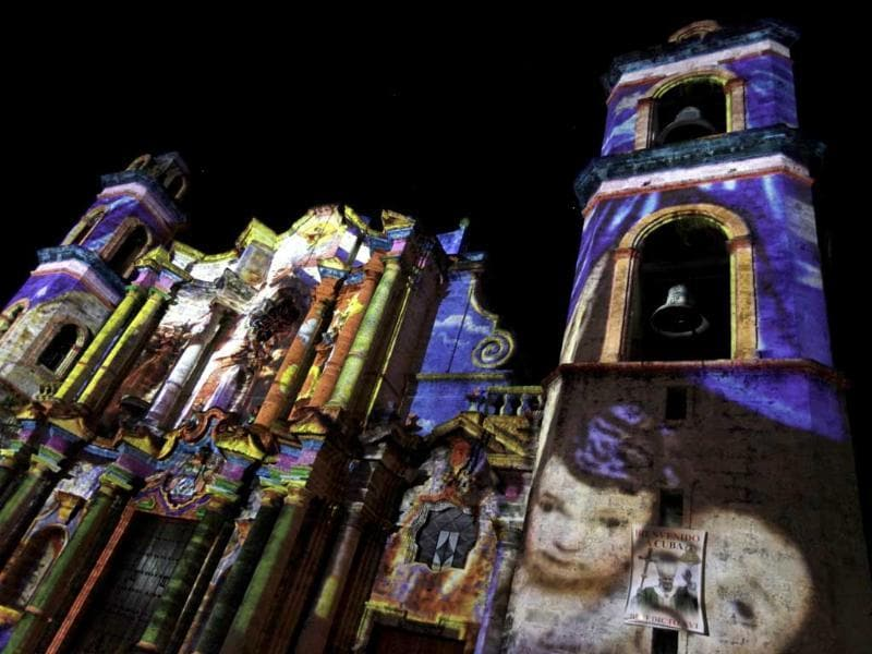 Havana's cathedral is lit by Italian artist Gaspare di Caro. Reuters/Enrique de la Osa