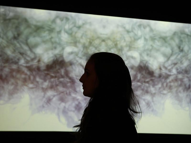 A Wellcome Trust employee stands in front of a video that journeys through slices of the brain in a kaleidoscope of colour at an exhibition call 'Brains - The Mind as Matter' at the Wellcome Collection in London. (AP Photo/Alastair Grant)