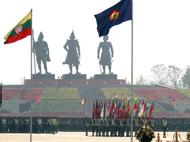 Myanmar soldiers march in formation during a ceremony to mark the 67th anniversary of Armed Forces Day at the parade ground in Naypyitaw, Myanmar. AP Photo/Khin Maung Win