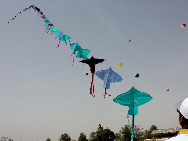About 50 participants including five foreigners taking part in one day International Kite Festival organised by Rajasthan Toursim Development Corporation on the occasion of Rajasthan Day at Polo Ground in Jaipur. Agencies