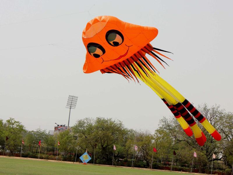 A jelly fish shaped kite at the one day International Kite Festival on the occasion of Rajasthan Day at Polo Ground in Jaipur. Agencies