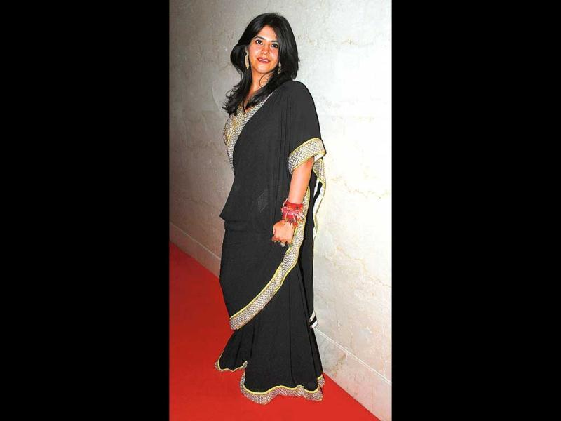 Ekta Kapoor, too, in black sari! (HT Photo)