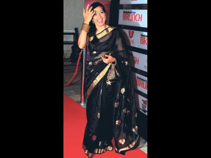 Former VJ Maria Goretti in a black and gold sari. (HT Photo)