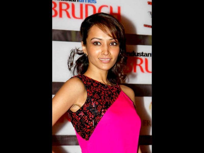 Model-actor Dipannita Sharma in a pink dress. (HT Photo)