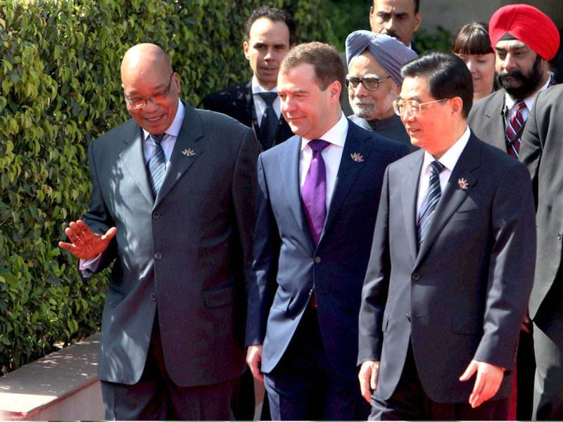 Prime Minister Manmohan Singh with Russian President Dmitry Medvedev, Chinese President Hu Jintao and South African President Jacob Zuma at the 4th BRICS Summit in New Delhi. PTI/Atul Yadav