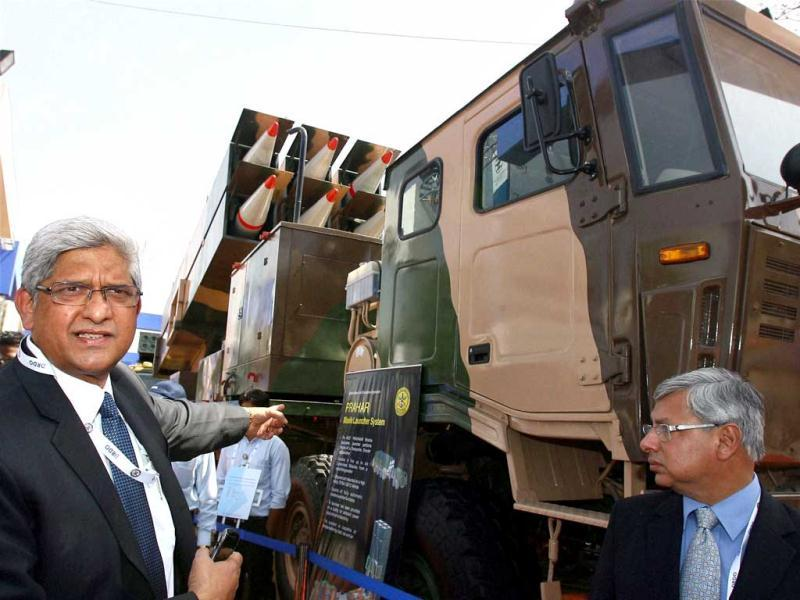 Ravi Pisharody, president, Commercial Vehicles Business Unit, Tata Motors and Vernon Noronha, Head - Defence and Government Business, Tata Motors at the launch of Tata 12x12 Prahaar Missile Carrier at the Defexpo 2012 at Pragati Maidan in New Delhi. PTI Photo/Kamal Kishore.