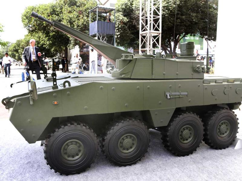 Tata Motors Model of FICV wheeled defence equipment on display at the Defexpo 2012 at Pragati Maidan in New Delhi on Thursday. HT Photo/Arvind Yadav.