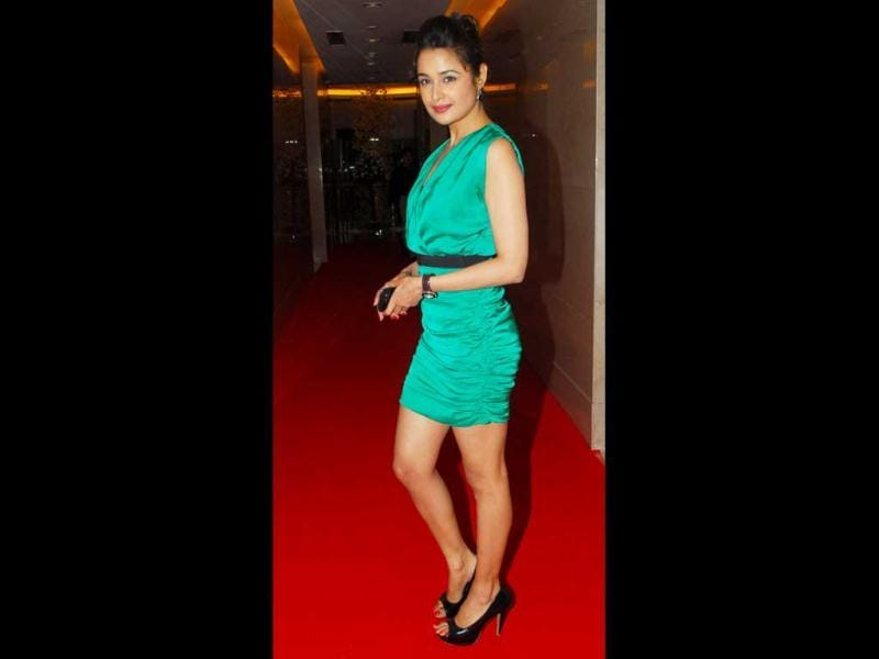 Actress Yuvika Chaudhary arrives for the event. (HT Photo)
