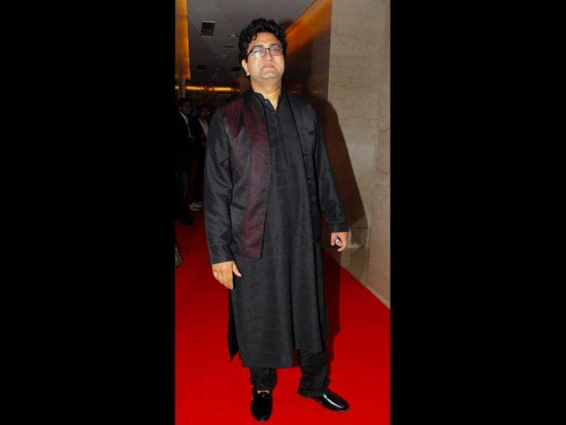 Adman Prasoon Joshi arrives in a traditional black outfit. (HT Photo)