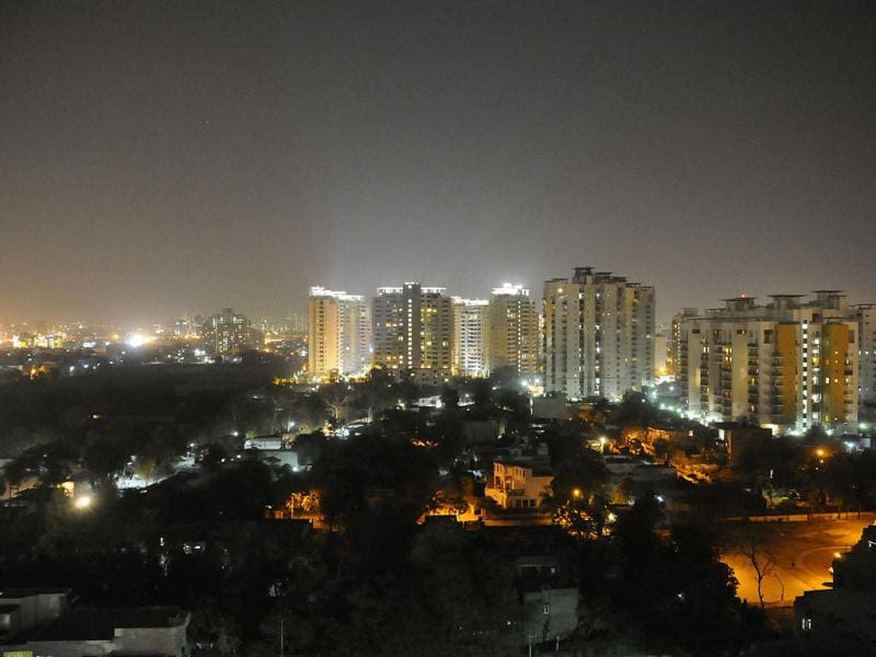 "A view of high-rise buildings before ""Earth Hour"" in Gurgaon. HT Photo by Parveen Kumar"